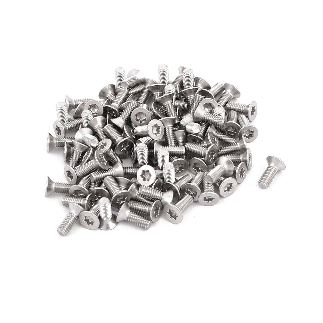 M3x8mm 304 Stainless Steel Fully Thread Flat Head Torx Screws Fasteners 100pcs