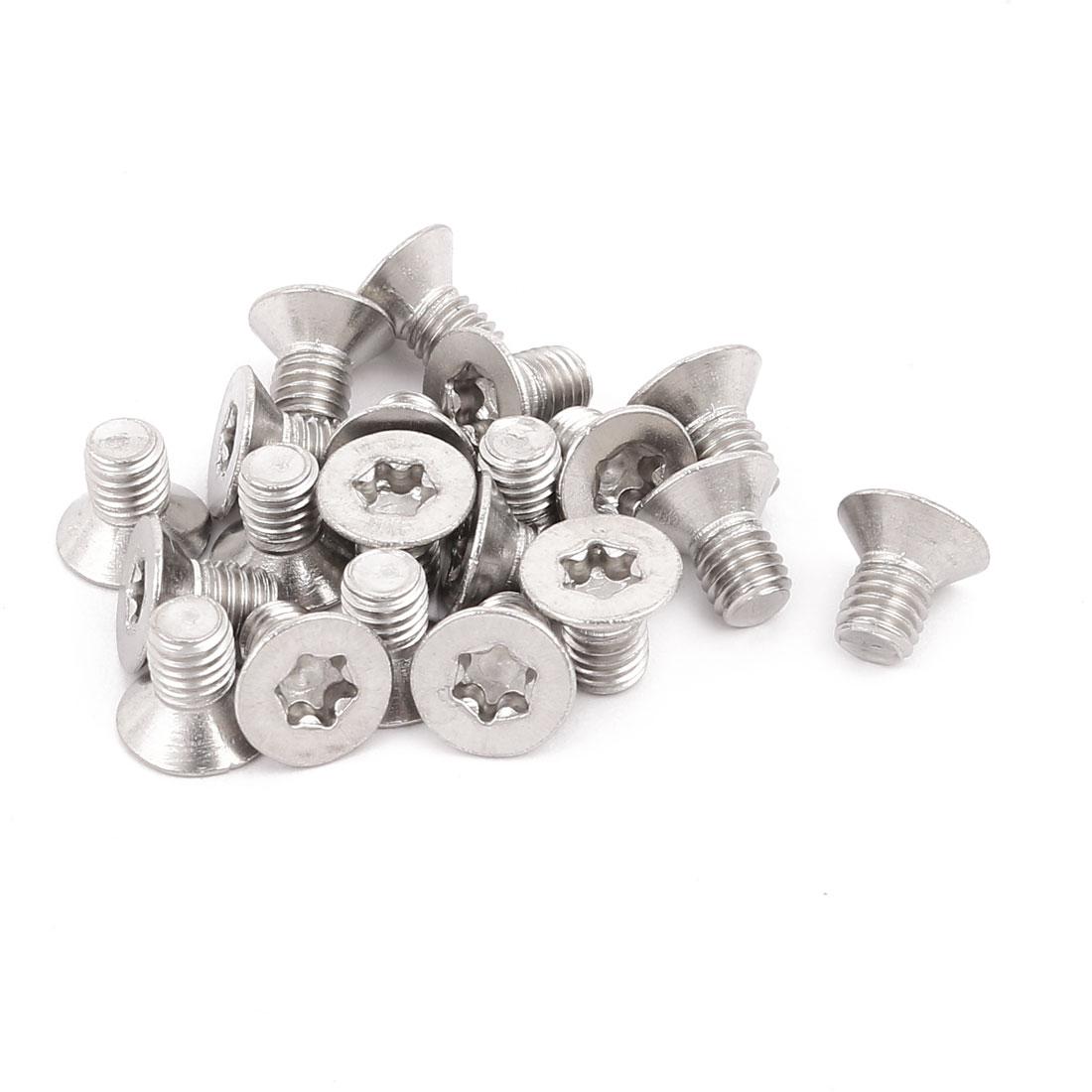 M5x8mm 304 Stainless Steel Fully Thread Flat Head Torx Screws Fasteners 20pcs