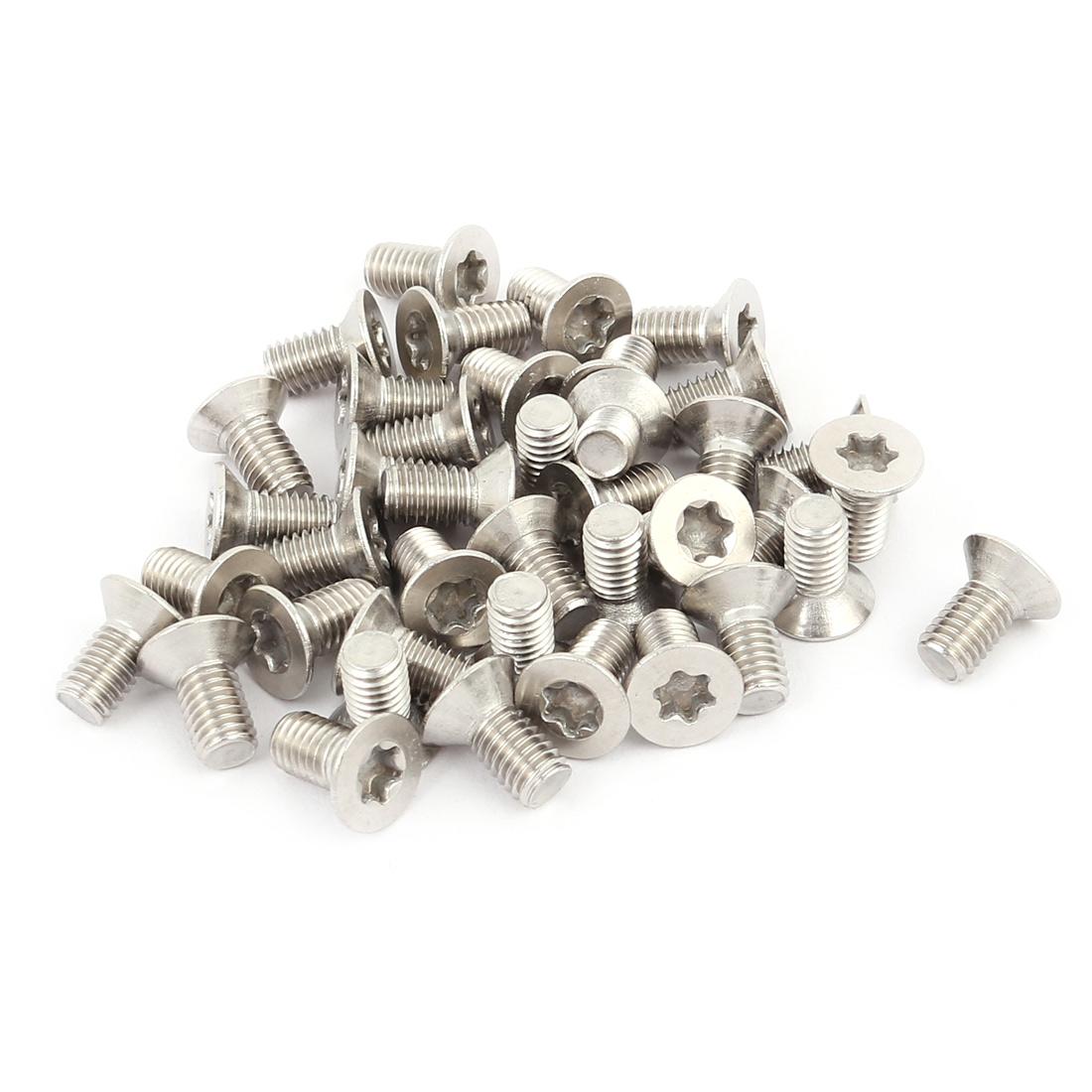 M5x10mm 304 Stainless Steel Fully Thread Flat Head Torx Screws Fasteners 40pcs