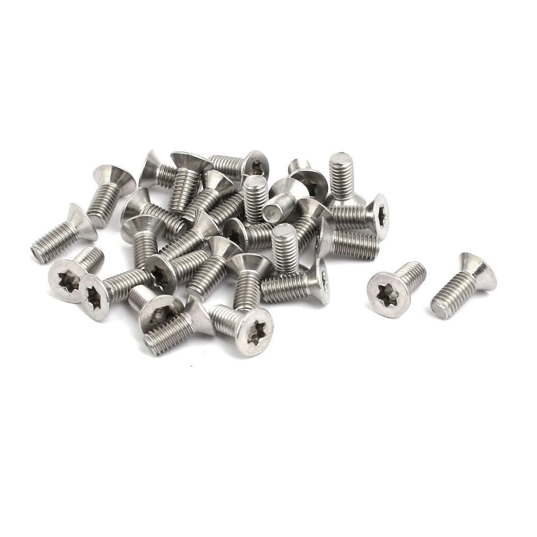 M5x12mm 304 Stainless Steel Flat Head Torx Drive Type Screw Silver Tone 30pcs