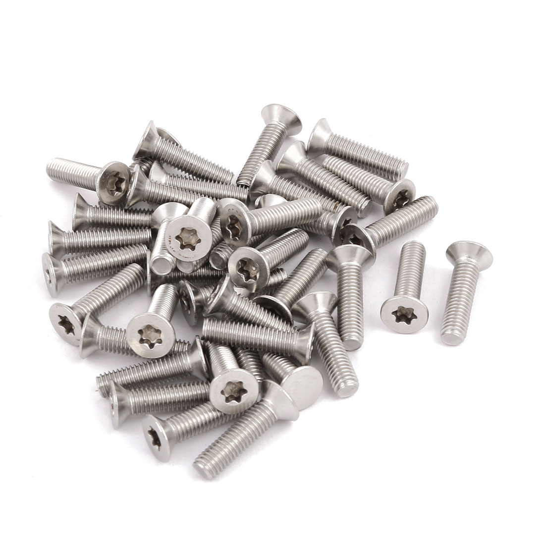 M5x20mm 304 Stainless Steel Fully Thread Flat Head Torx Screws Fasteners 40pcs