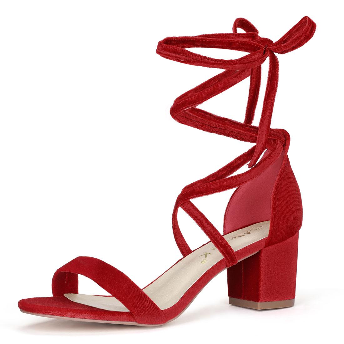 Allegra K Women Open Toe Lace Up Mid Chunky Heeled Sandals Red-velvet 8.5 M US