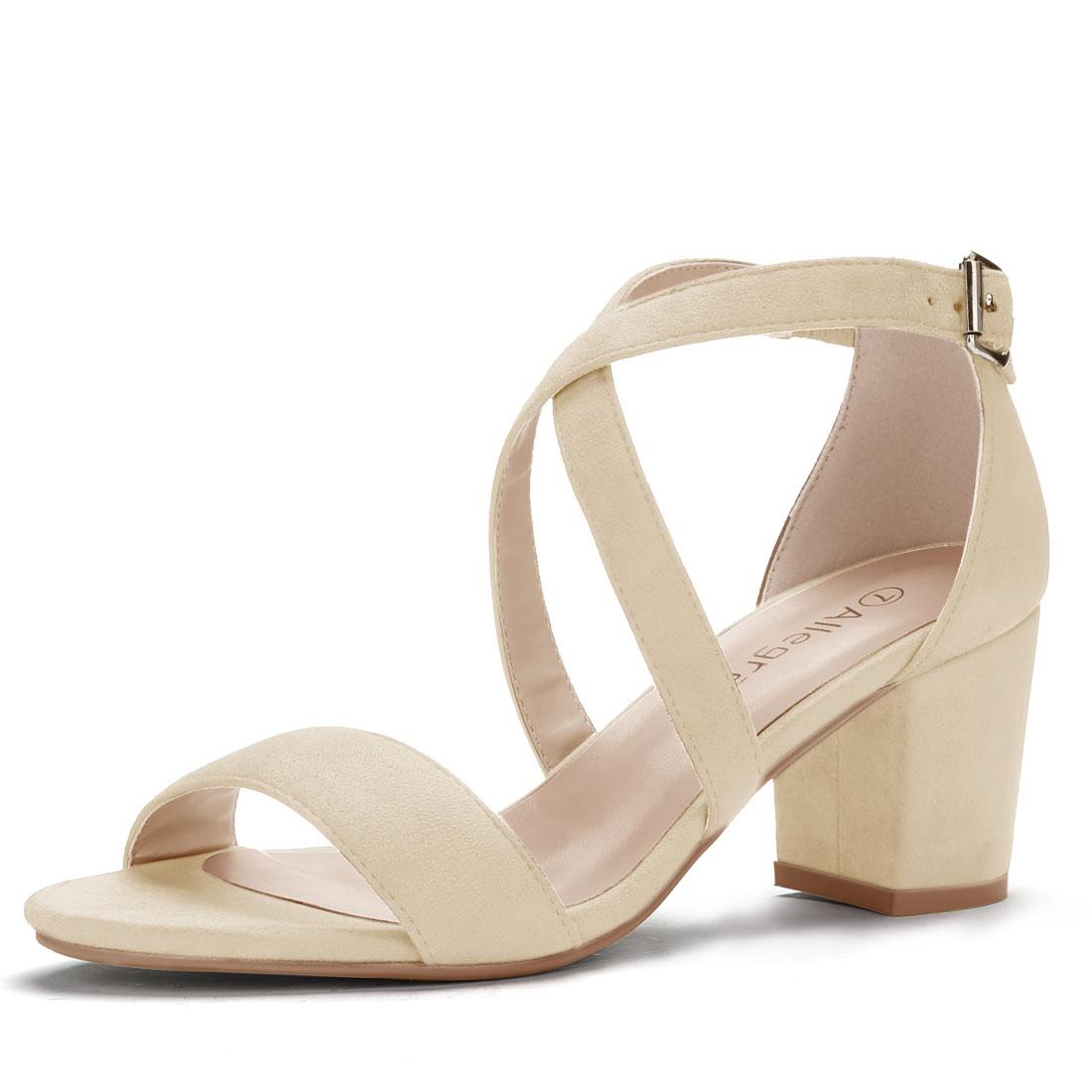 Allegra K Women's Crisscross Straps Mid Heel Ankle Strap Sandals Beige US 8