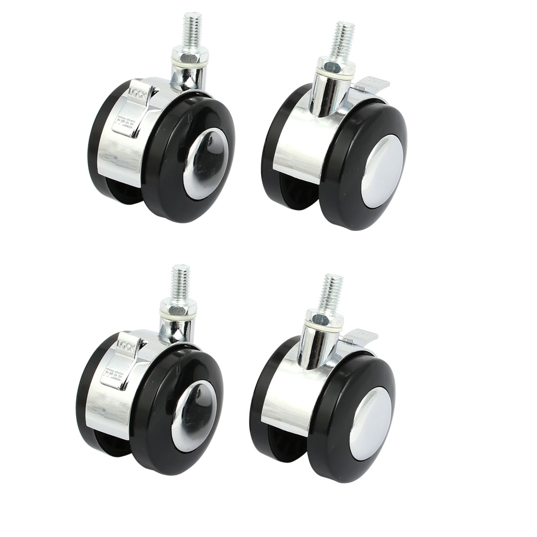 M8 Thread 2-inch Dia Wheel Swivel Brake Caster Roller 4pcs