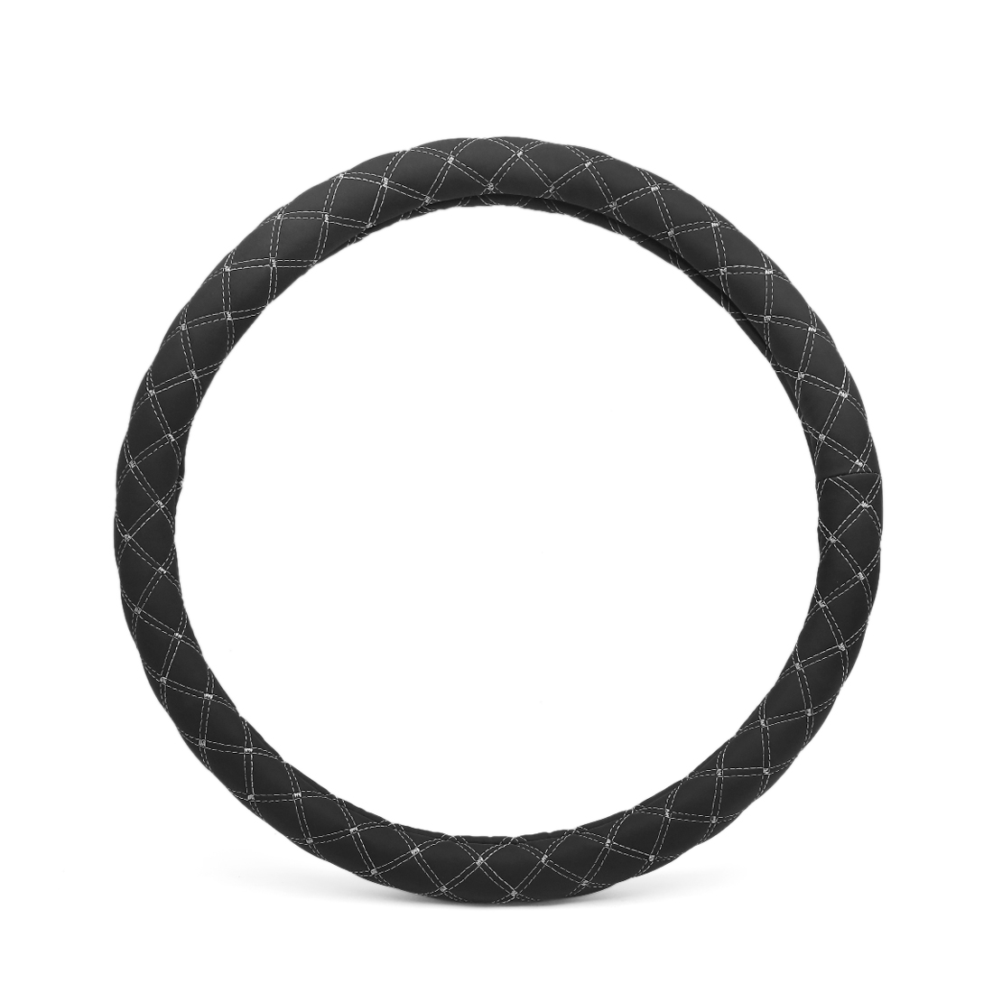 47cm Outer Dia Black White Quilted Stitch Pattern Car Truck Steering Wheel Cover