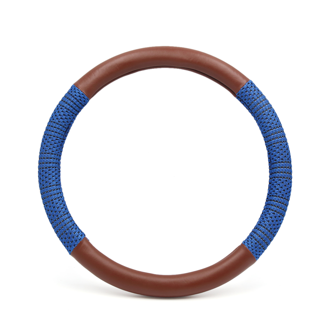 S Blue Brown Ice Silk Faux Leather Anti Skid Car Steering Wheel Cover Protector