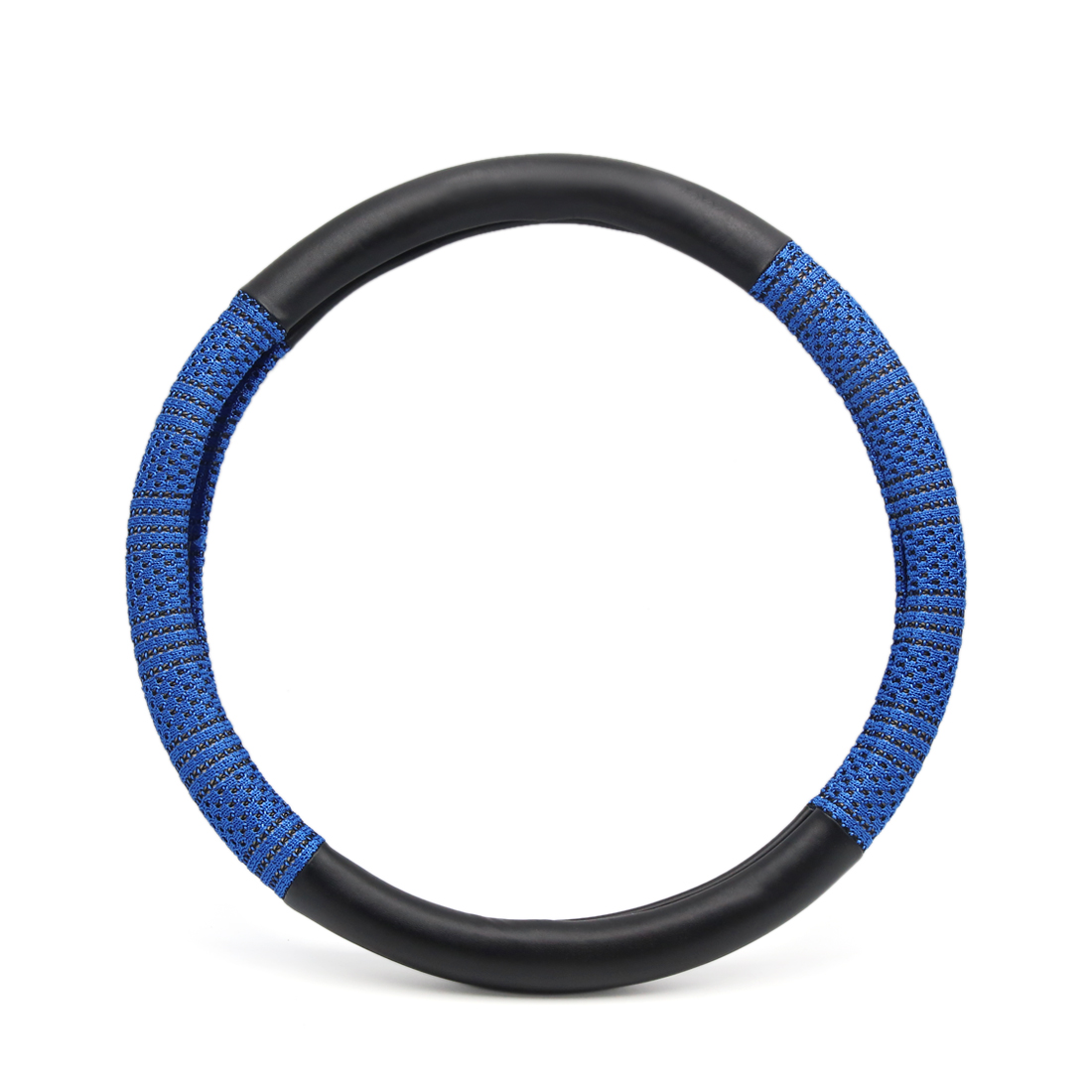 M Blue Black Ice Silk Faux Leather Anti Skid Car Steering Wheel Cover Protector