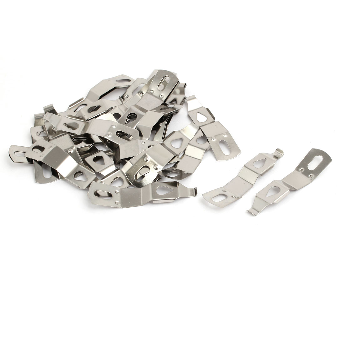 50mmx13mm Picture Photo Frame Metal Spring Turn Clip Hanger Siver Tone 30pcs
