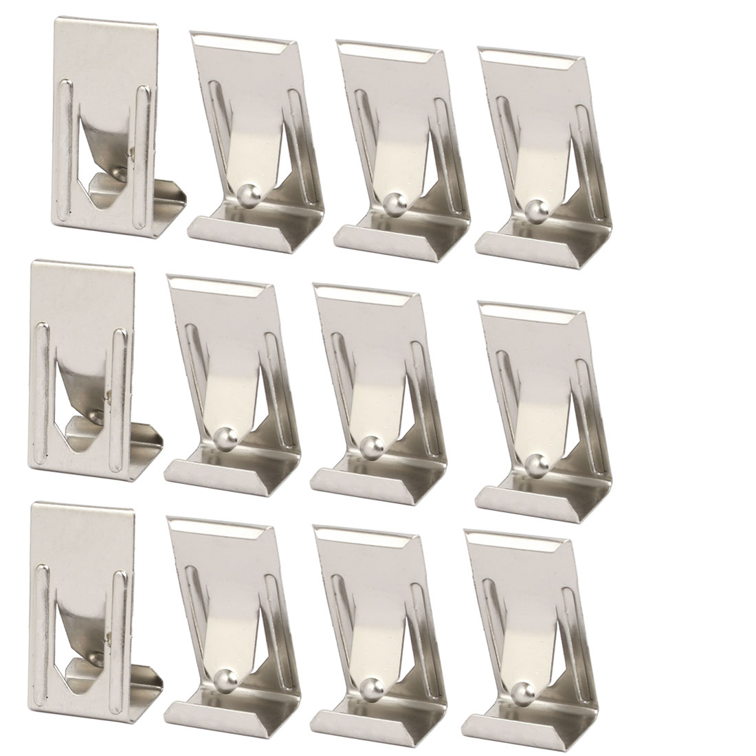 26mmx14mm Picture Photo Frame Metal Spring Turn Clip Hanger Siver Tone 12pcs