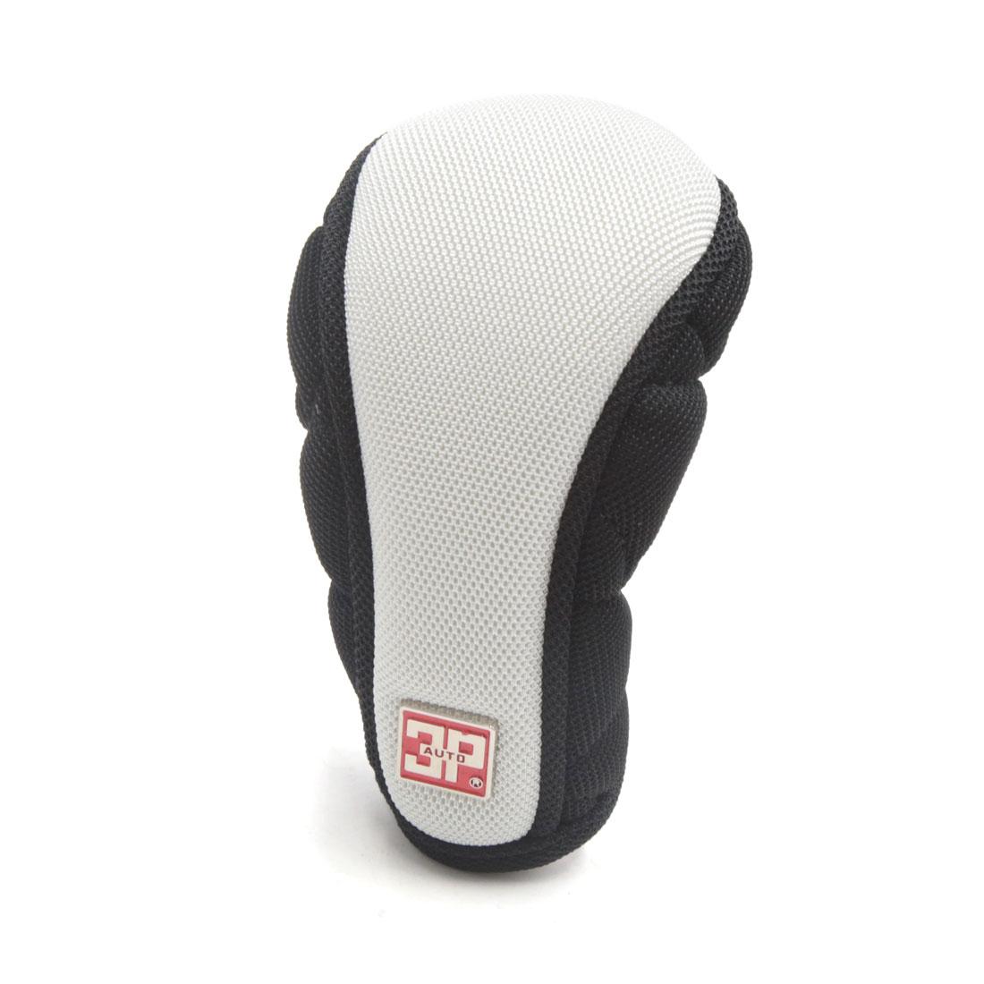 Black White Zipper Closure Microfiber Car Gear Shift Knob Shifter Cover