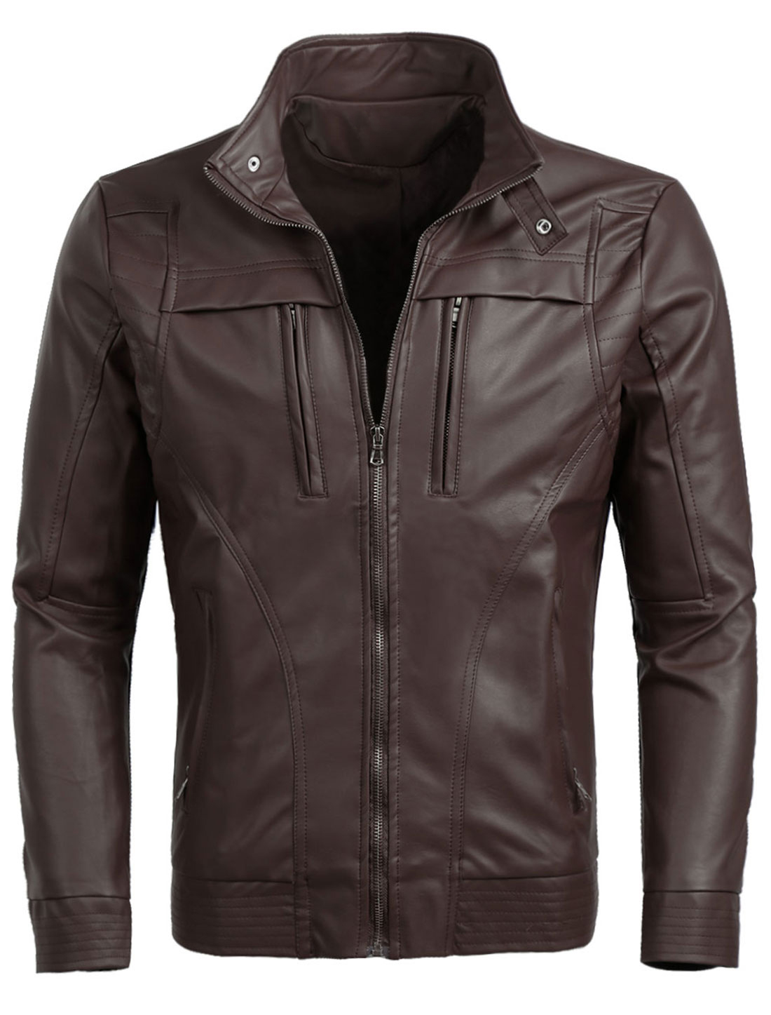 Men Classic Casual Zip Up Moto Motorcycle Pu Imitation Leather Jacket Coffee L