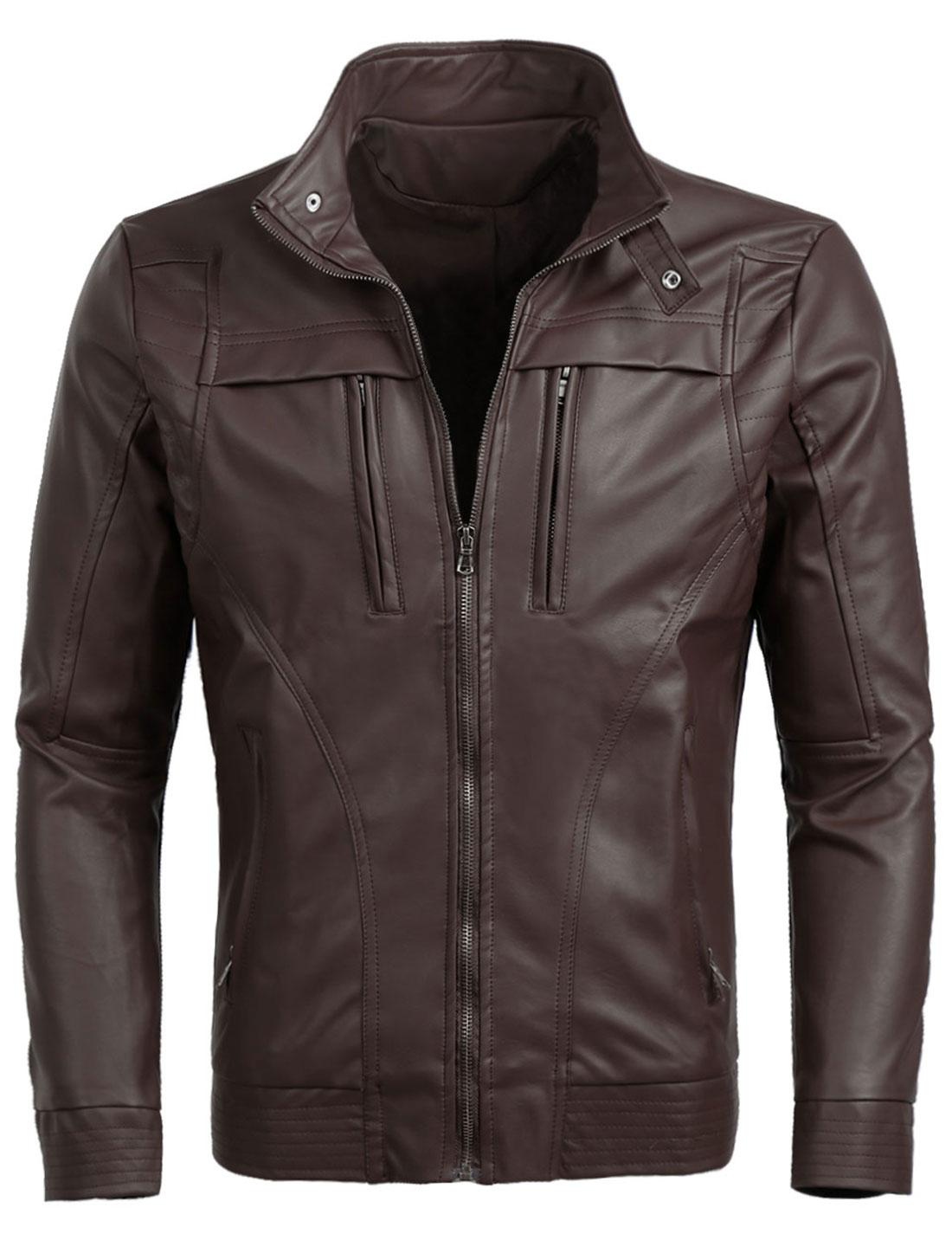 Men Basic Classic Zip Up Moto Motorcycle Pu Imitation Leather Jacket Coffee L