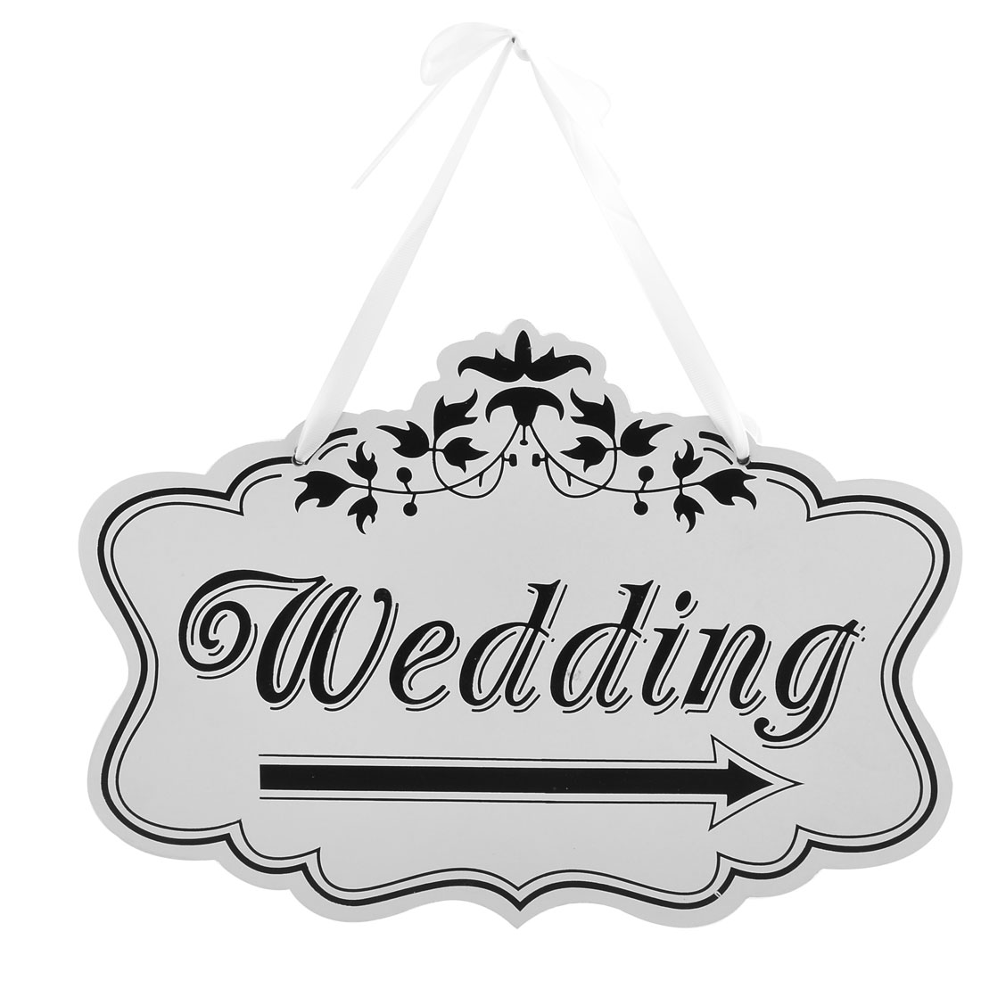 Wedding Party Wood Arrow Pattern Door Wall Rope Hanging Sign Label Black White