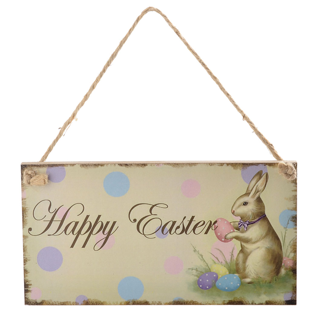 Easter Day Wood Rabbit Pattern Door Wall String Hanging Sign Label Multicolor