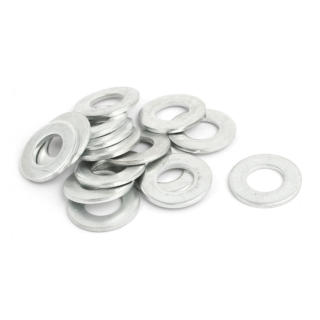 M12 Carbon Steel Zinc Plated Flat Pads Washer Gasket Spacer Silver Tone 15pcs