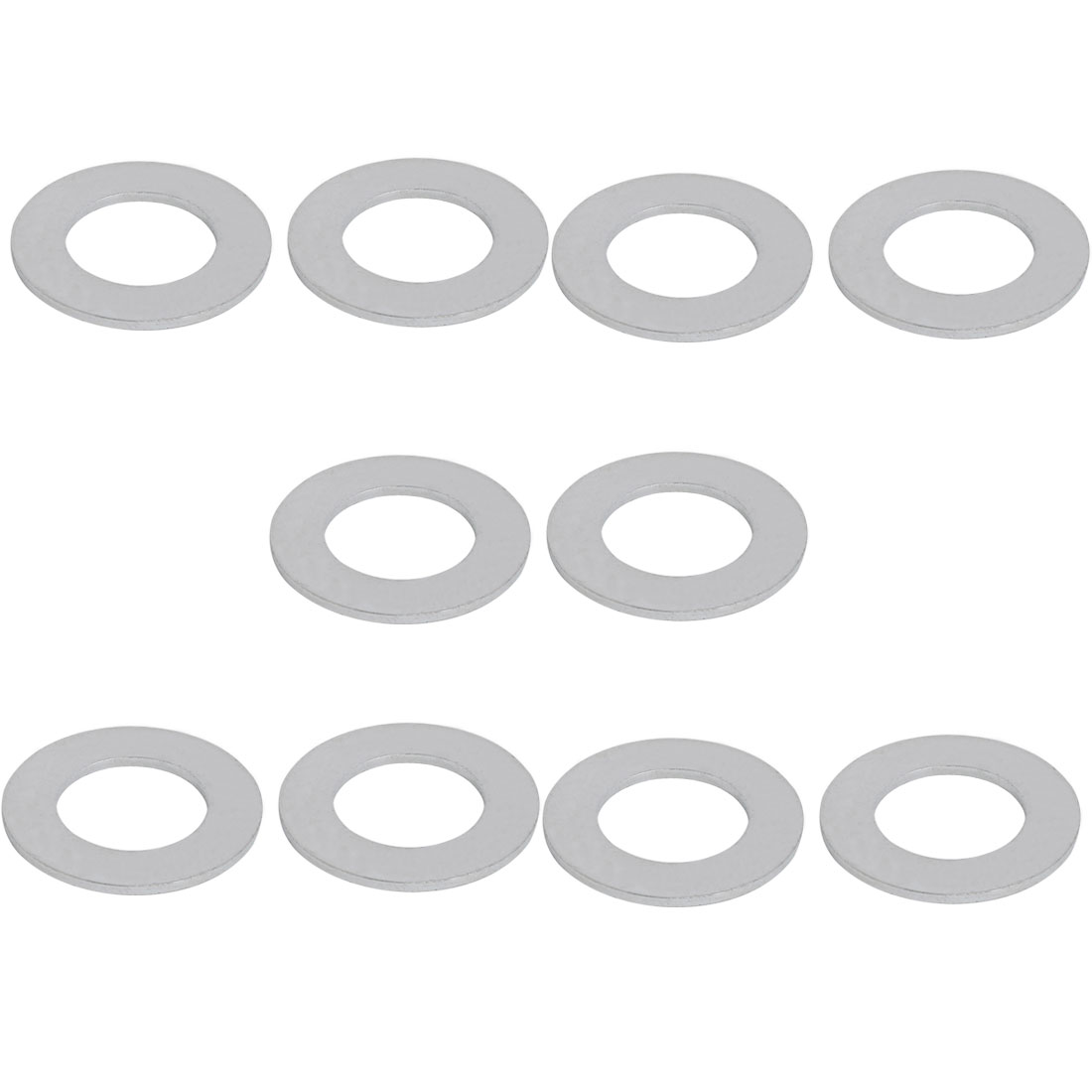 M20 Carbon Steel Zinc Plated Flat Pads Washer Gasket Spacer Silver Tone 10pcs