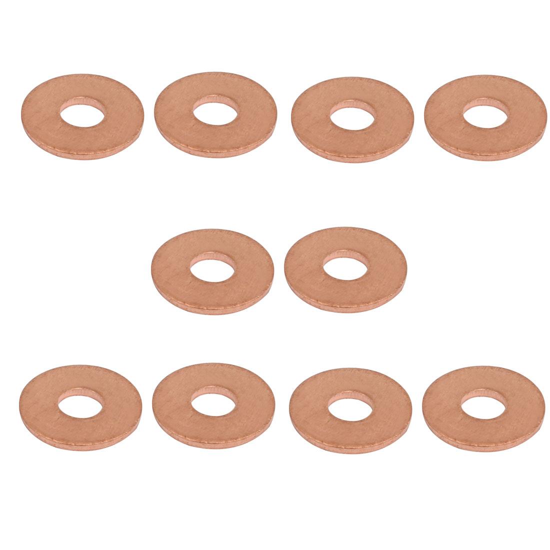 10pcs 6mmx18mmx1.5mm Copper Flat Ring Sealing Crush Washer Gasket