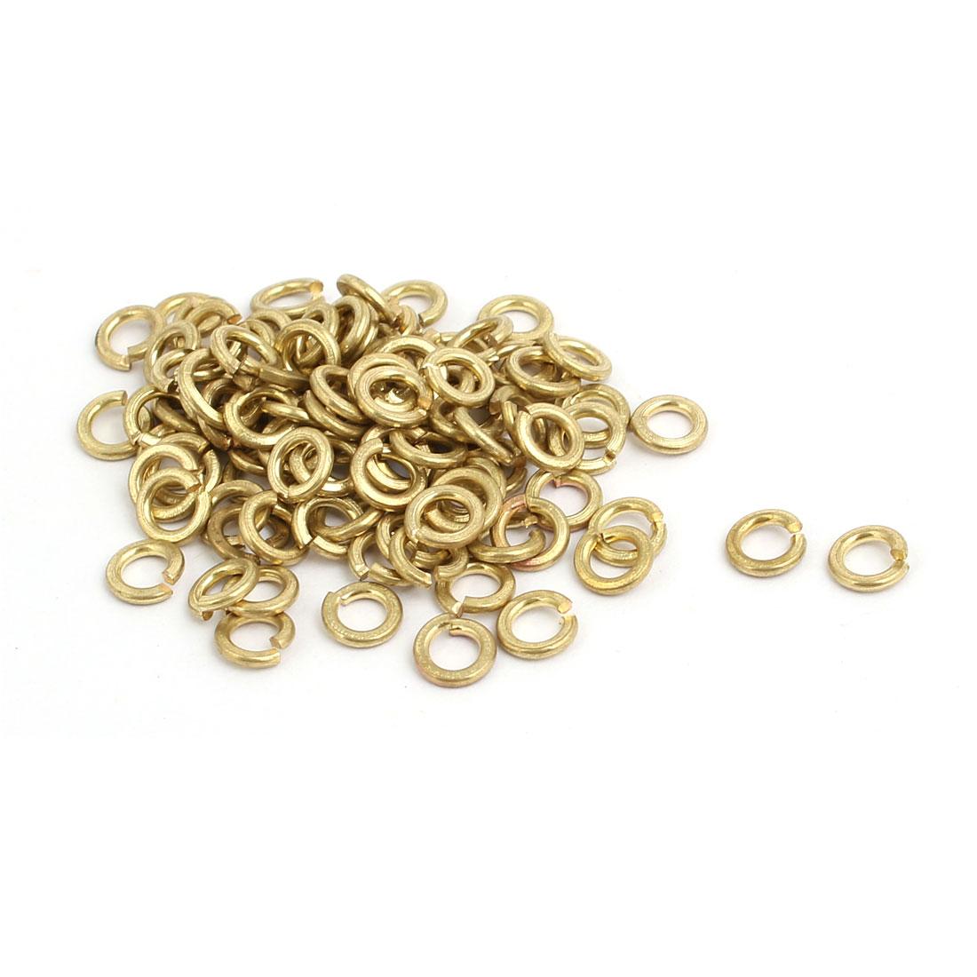 2.5mm Inner Dia Brass Split Lock Spring Washer Gasket Gold Tone 100pcs