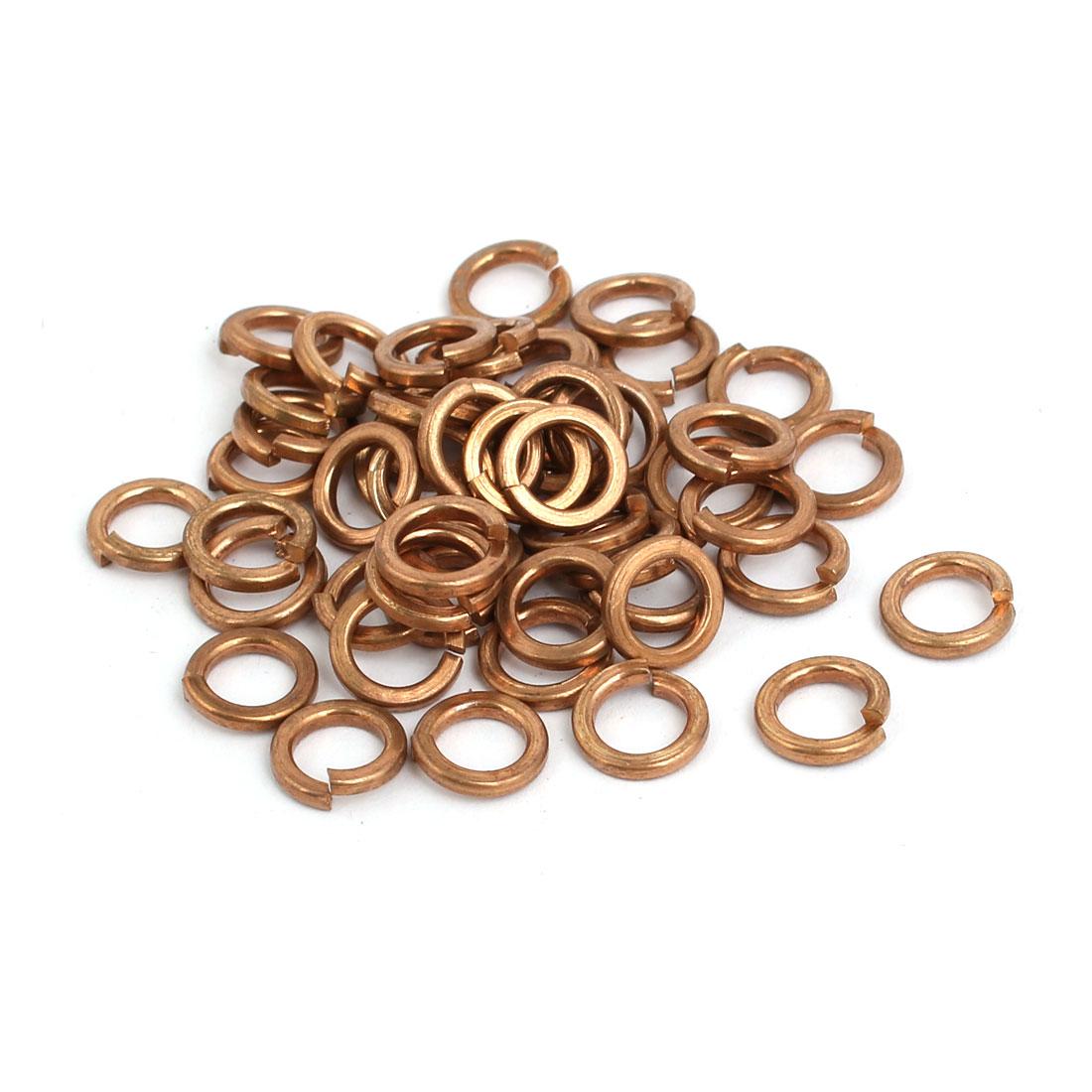 50pcs 5mm Inner Dia Brass Split Lock Spring Washer Ring Gasket Copper Tone