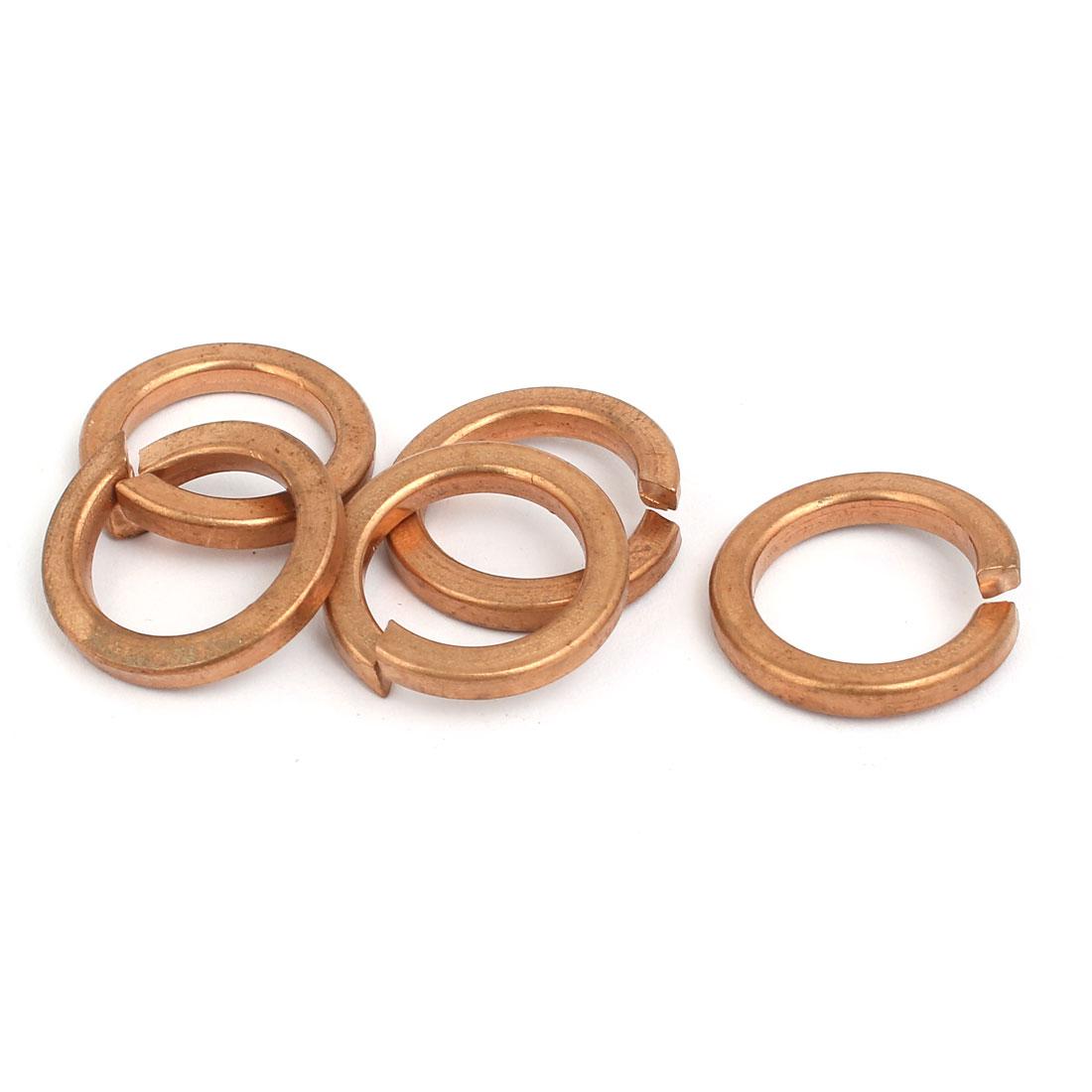 16mm Inner Diameter Split Lock Spring Washer Gasket Copper Tone 5pcs