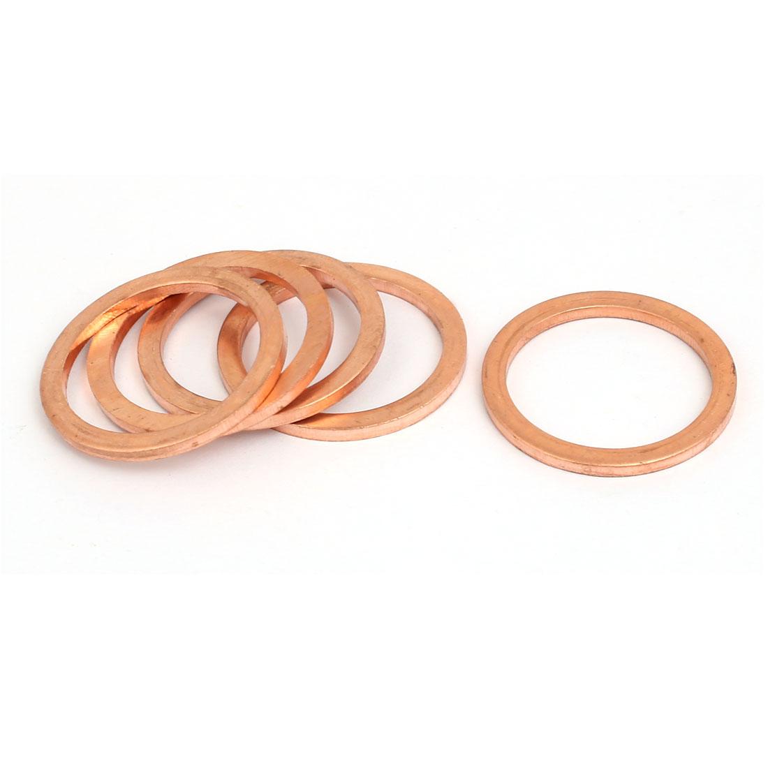 5pcs 24mmx30mmx2mm Copper Flat Ring Sealing Crush Washer Gasket