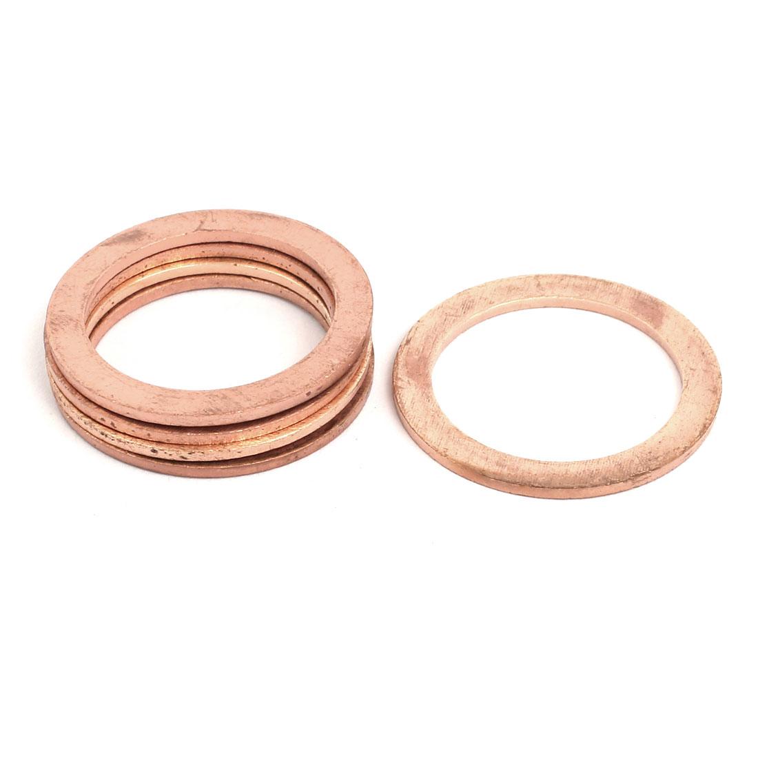5pcs 24mmx32mmx1.5mm Copper Flat Ring Sealing Crush Washer Gasket