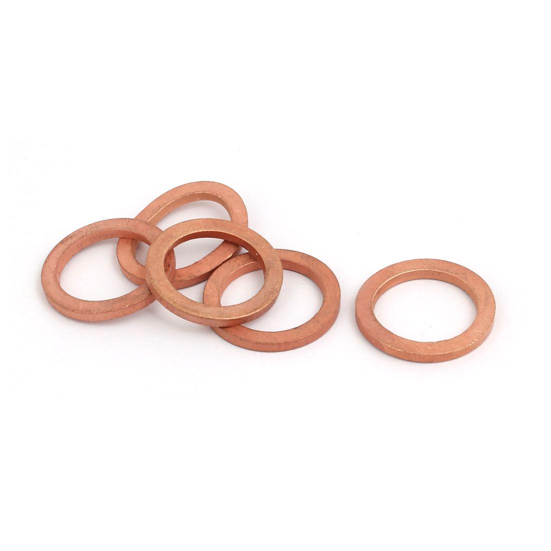 5pcs 16mmx22mmx2mm Copper Flat Ring Sealing Crush Washer Gasket