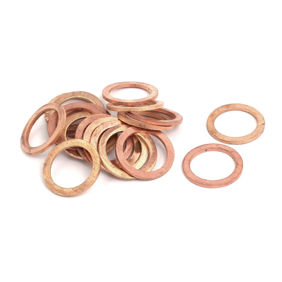 20pcs 17mmx23mmx1.5mm Copper Flat Ring Sealing Crush Washer Gasket