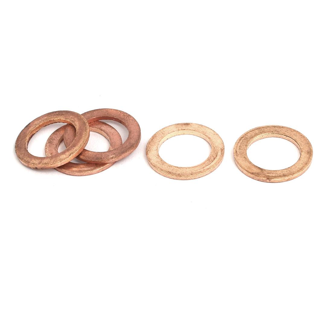 5pcs 12mmx20mmx1.5mm Copper Flat Ring Sealing Crush Washer Gasket