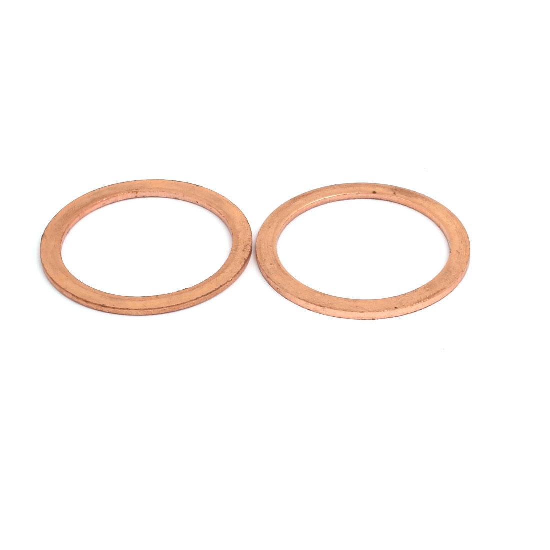 2pcs 38mmx48mmx2mm Copper Flat Ring Sealing Crush Washer Gasket Grommet
