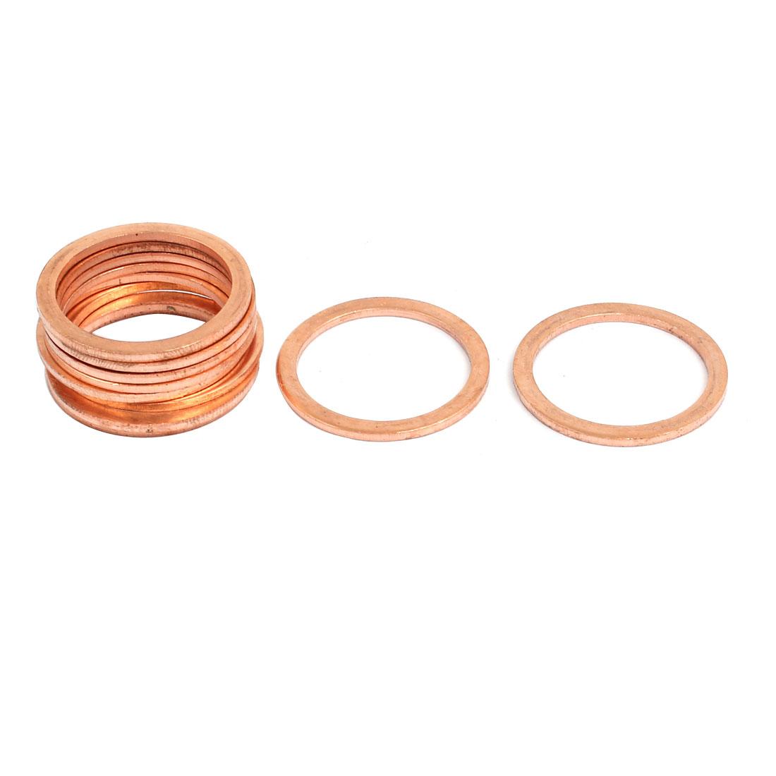 10pcs 22mmx27mmx1.5mm Copper Flat Ring Sealing Crush Washer Gasket