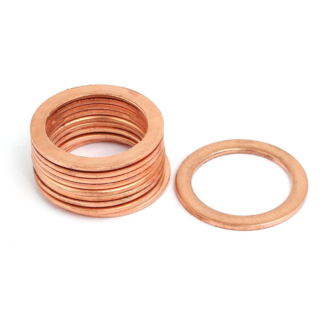 10pcs 22mmx30mmx1.5mm Copper Flat Ring Sealing Crush Washer Gasket
