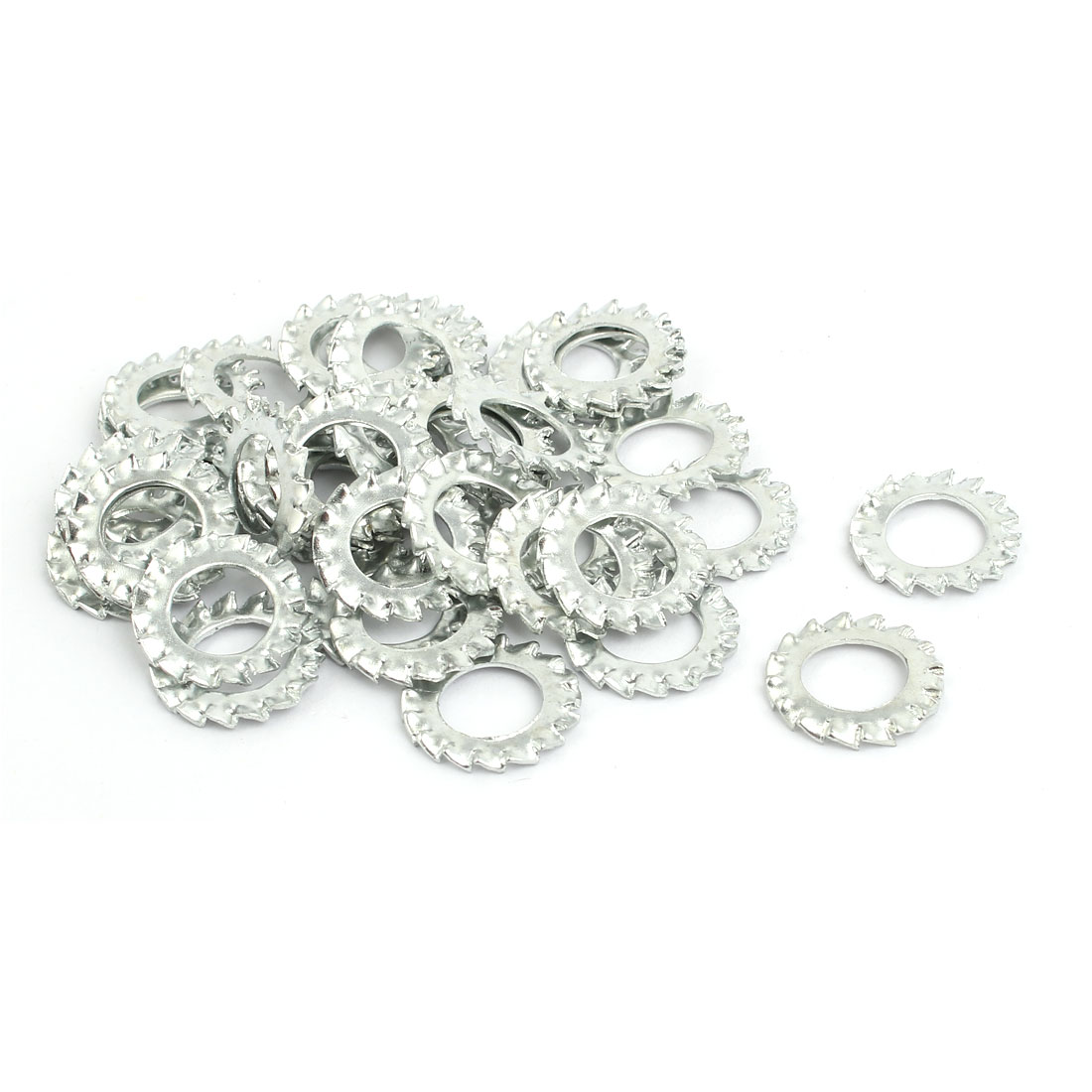 10mm Inner Dia Carbon Steel Zinc Plated External Tooth Lock Washer 40pcs