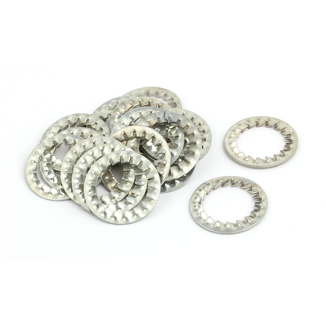 20mm Inner Dia Carbon Steel Zinc Plated Internal Serrated Lock Washer 20pcs