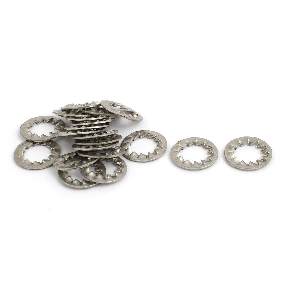 10mm Inner Dia 304 Stainless Steel Internal Serrated Lock Washer Gray 20pcs