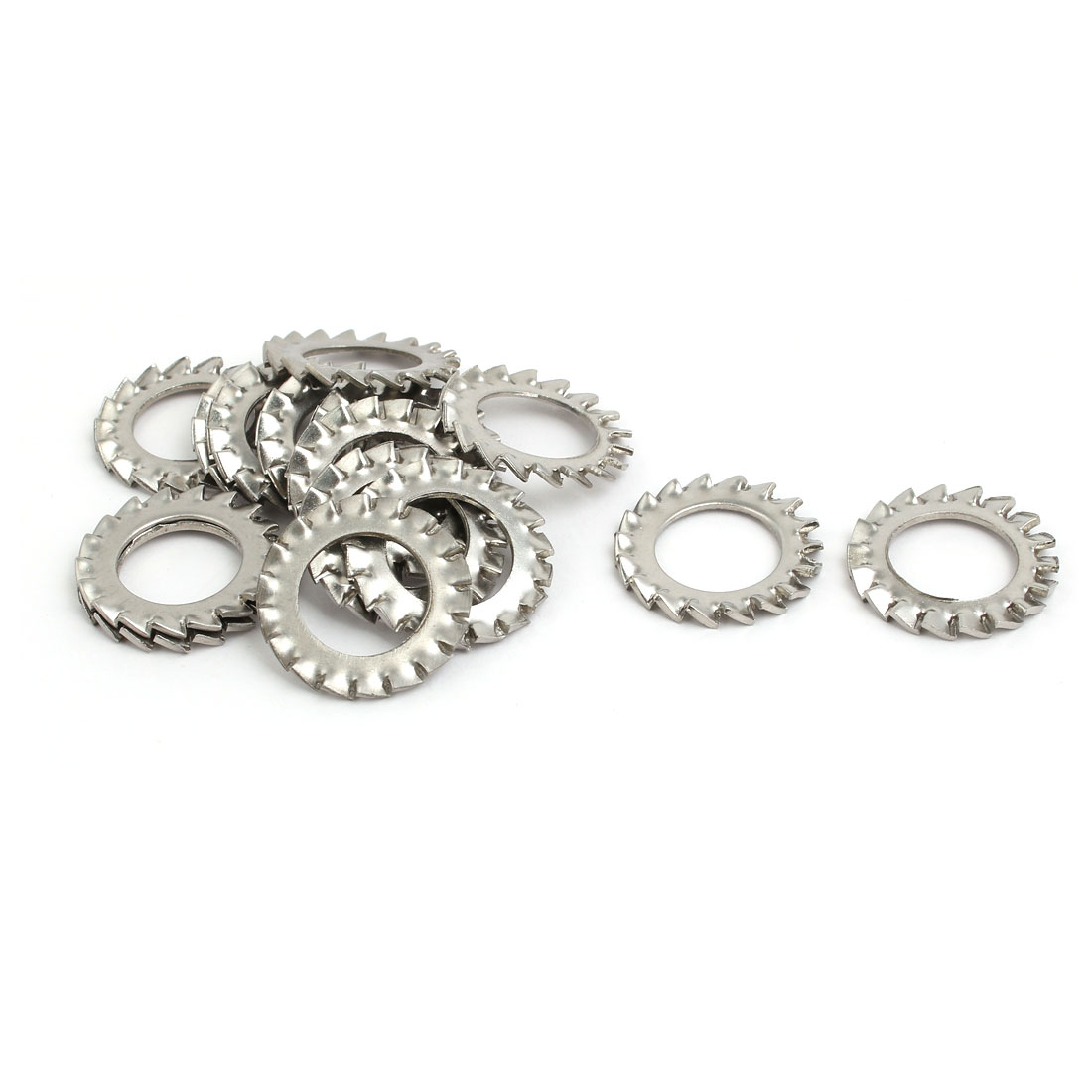 14mm Inner Dia 304 Stainless Steel External Tooth Lock Washer Silver Tone 15pcs