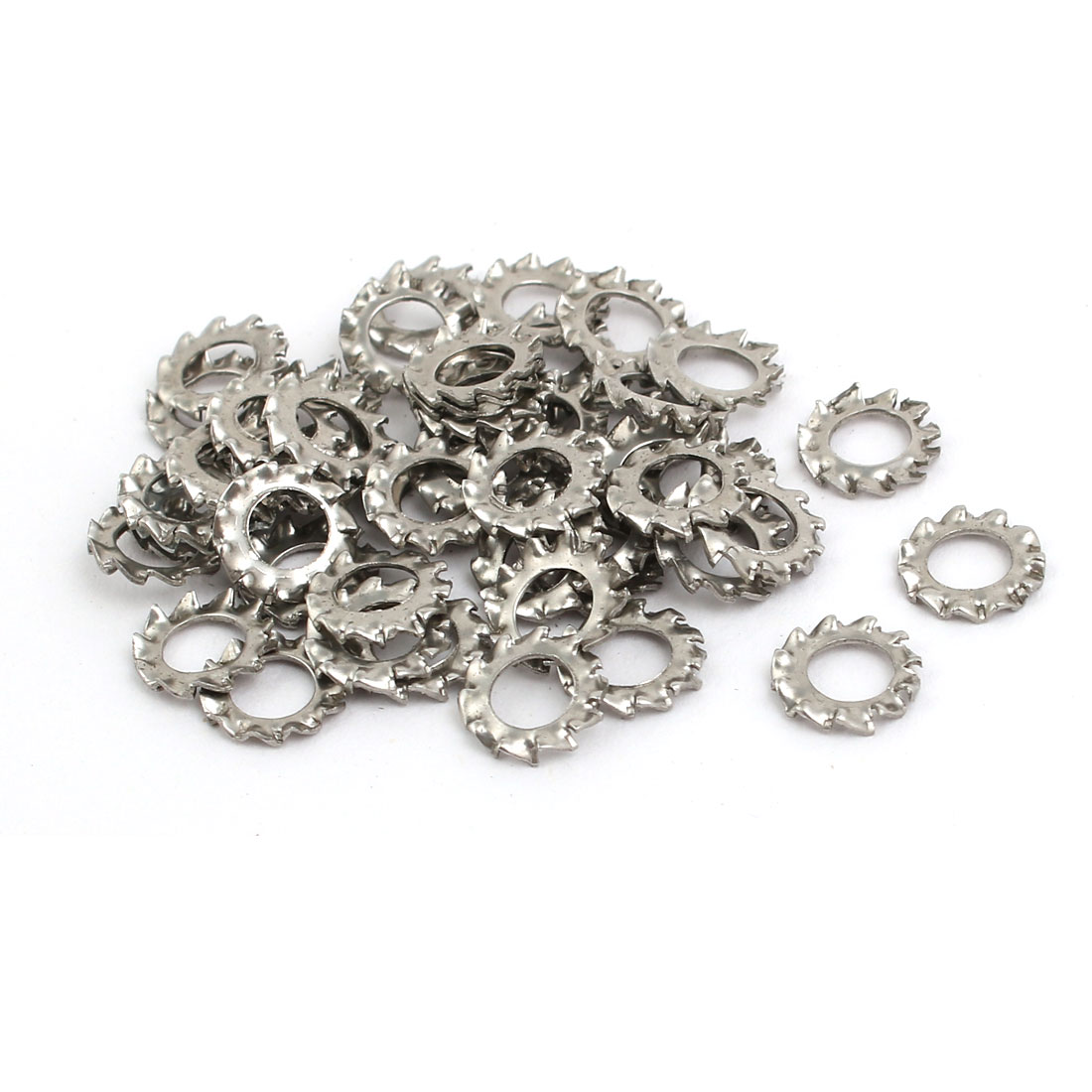 4mm Inner Dia 304 Stainless Steel External Tooth Lock Washer Silver Tone 50pcs