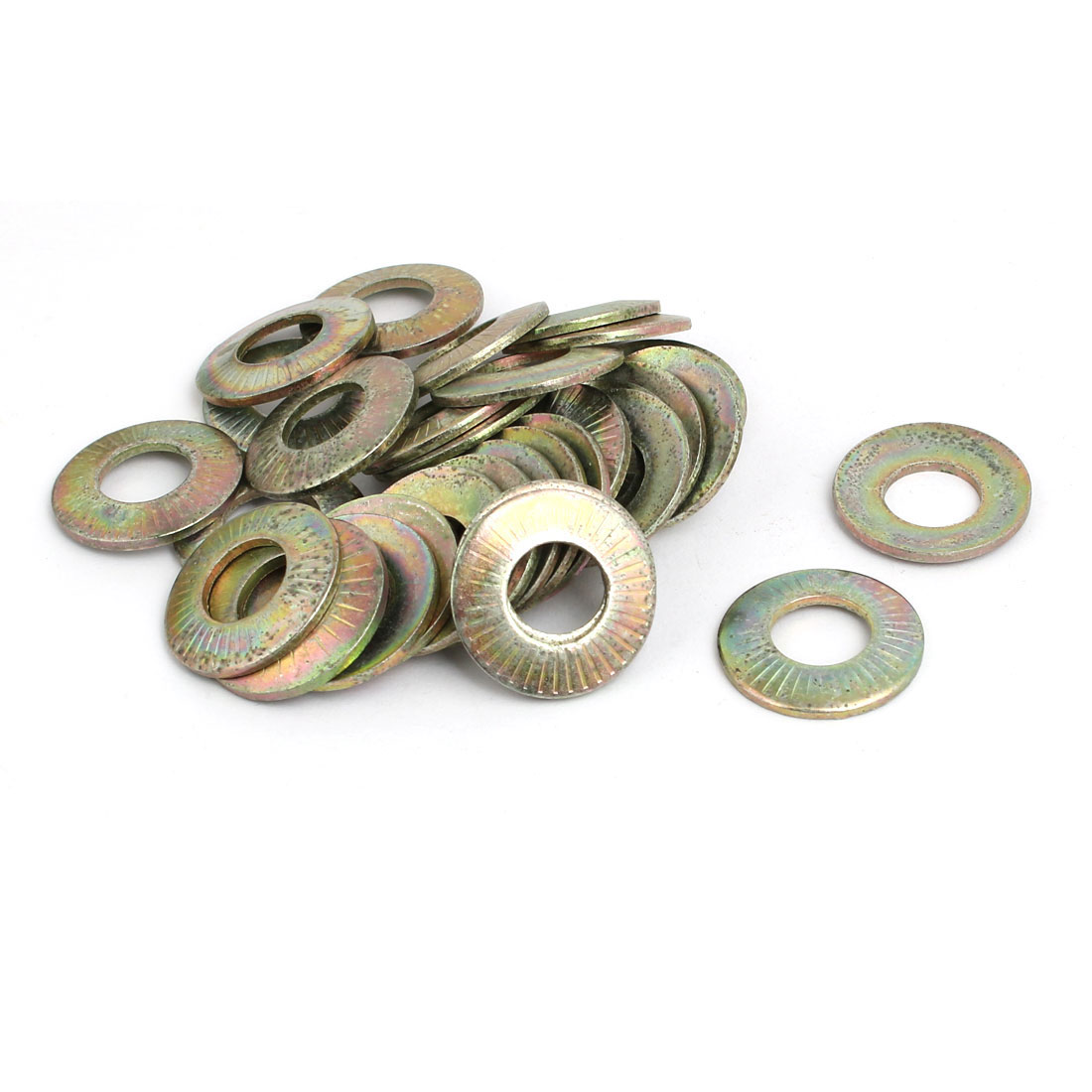 M10 Inner Dia Carbon Steel Serrated Conical Spring Washer Bronze Tone 50pcs