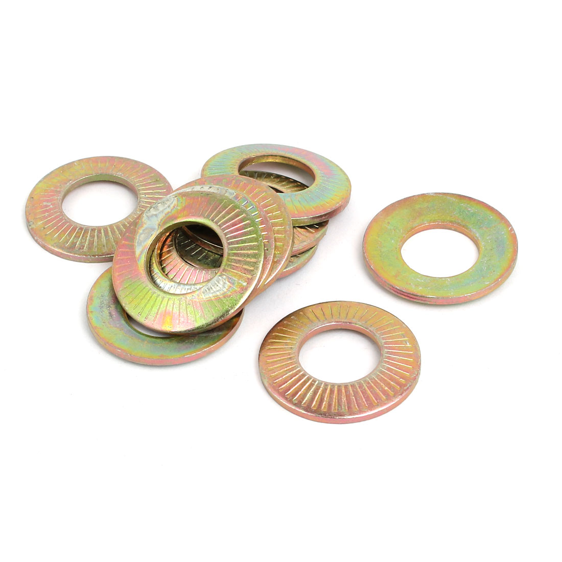 M14 Inner Dia Carbon Steel Serrated Conical Washer Bronze Tone 10pcs