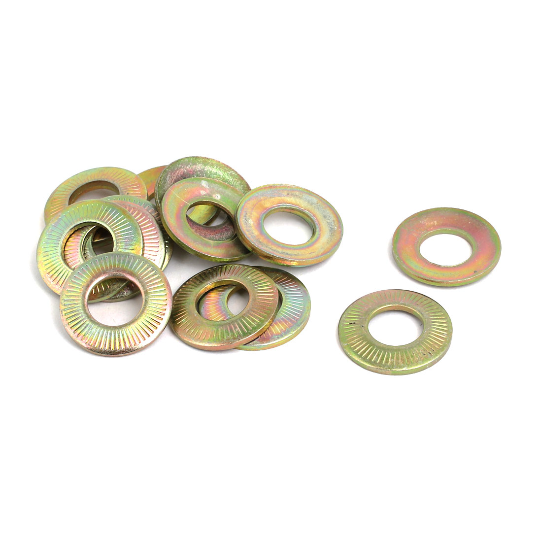 M12 Inner Dia Carbon Steel Serrated Conical Washer Bronze Tone 15pcs