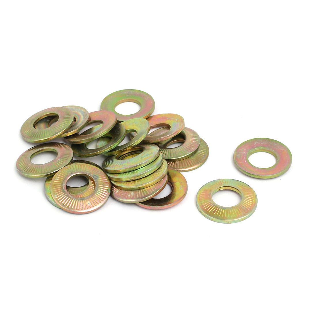 M12 Inner Dia Carbon Steel Serrated Conical Washer Bronze Tone 20pcs