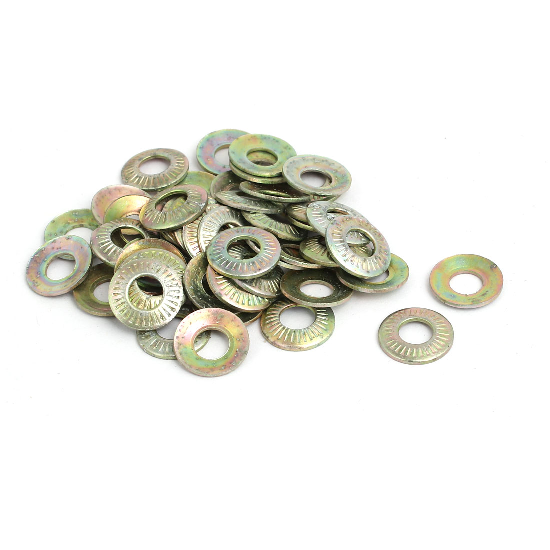 M5 Inner Dia Carbon Steel Serrated Conical Washer Bronze Tone 50pcs