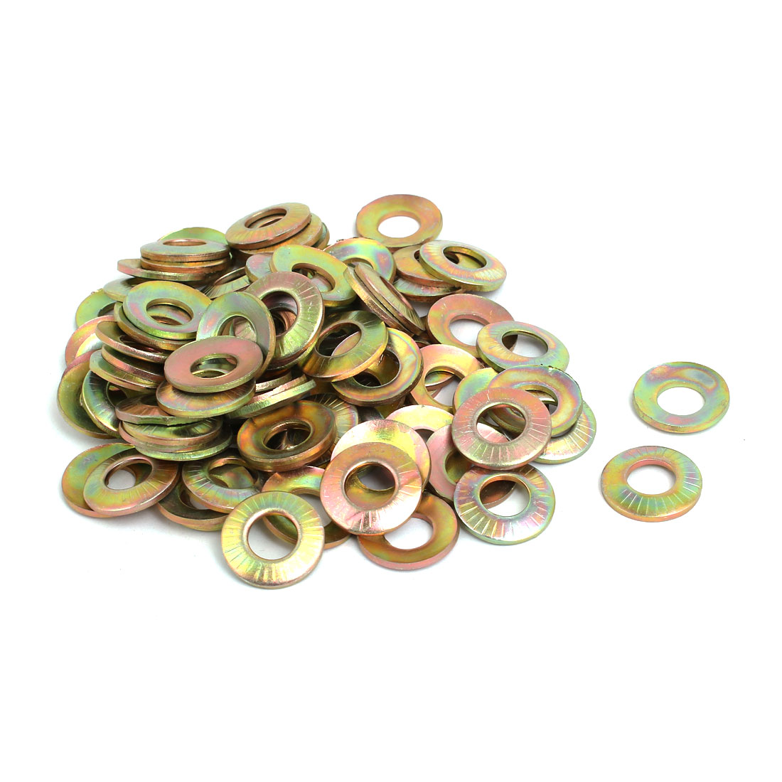 M8 Inner Dia Carbon Steel Serrated Conical Washer Bronze Tone 100pcs