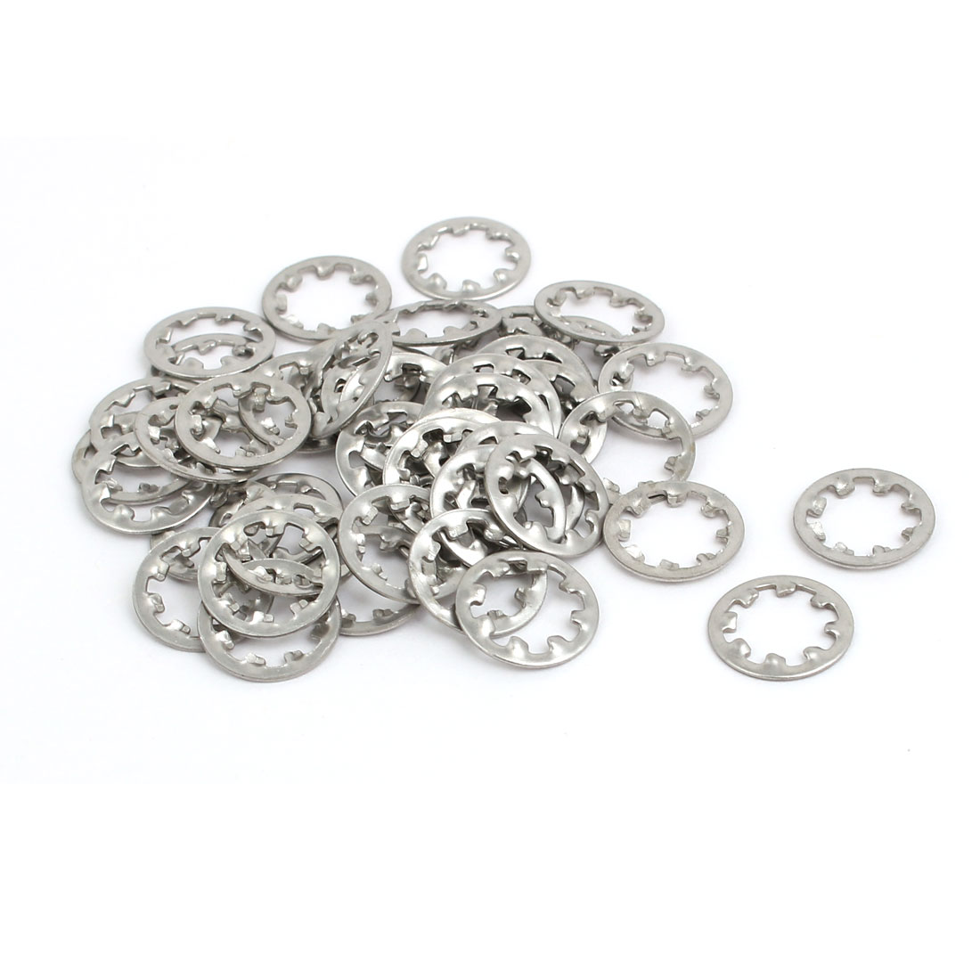 6mm Inner Dia Stainless Steel Internal Tooth Lock Washer Silver Tone 50pcs