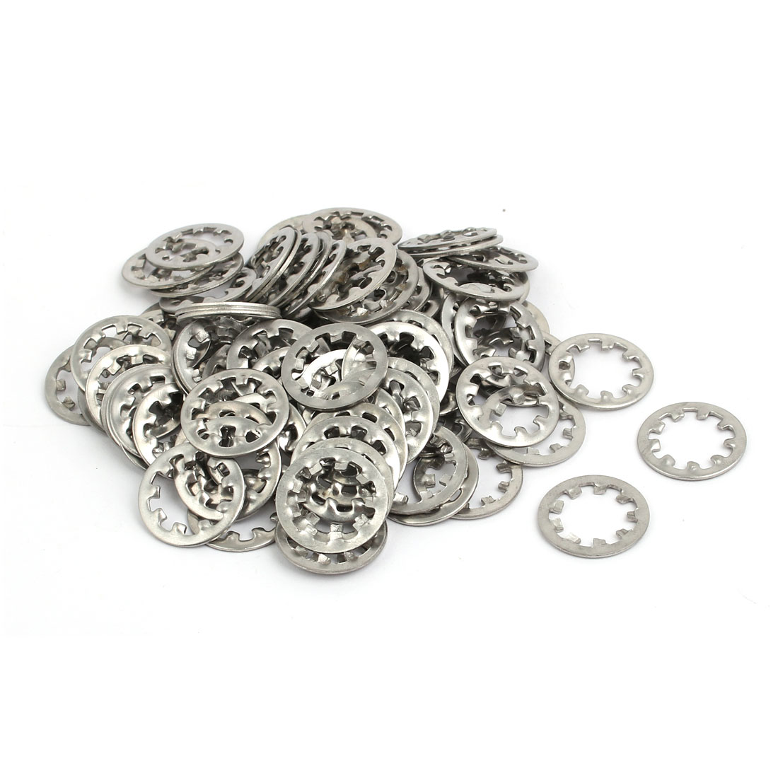 10mm Inner Dia Stainless Steel Internal Tooth Lock Washer Silver Tone 100pcs
