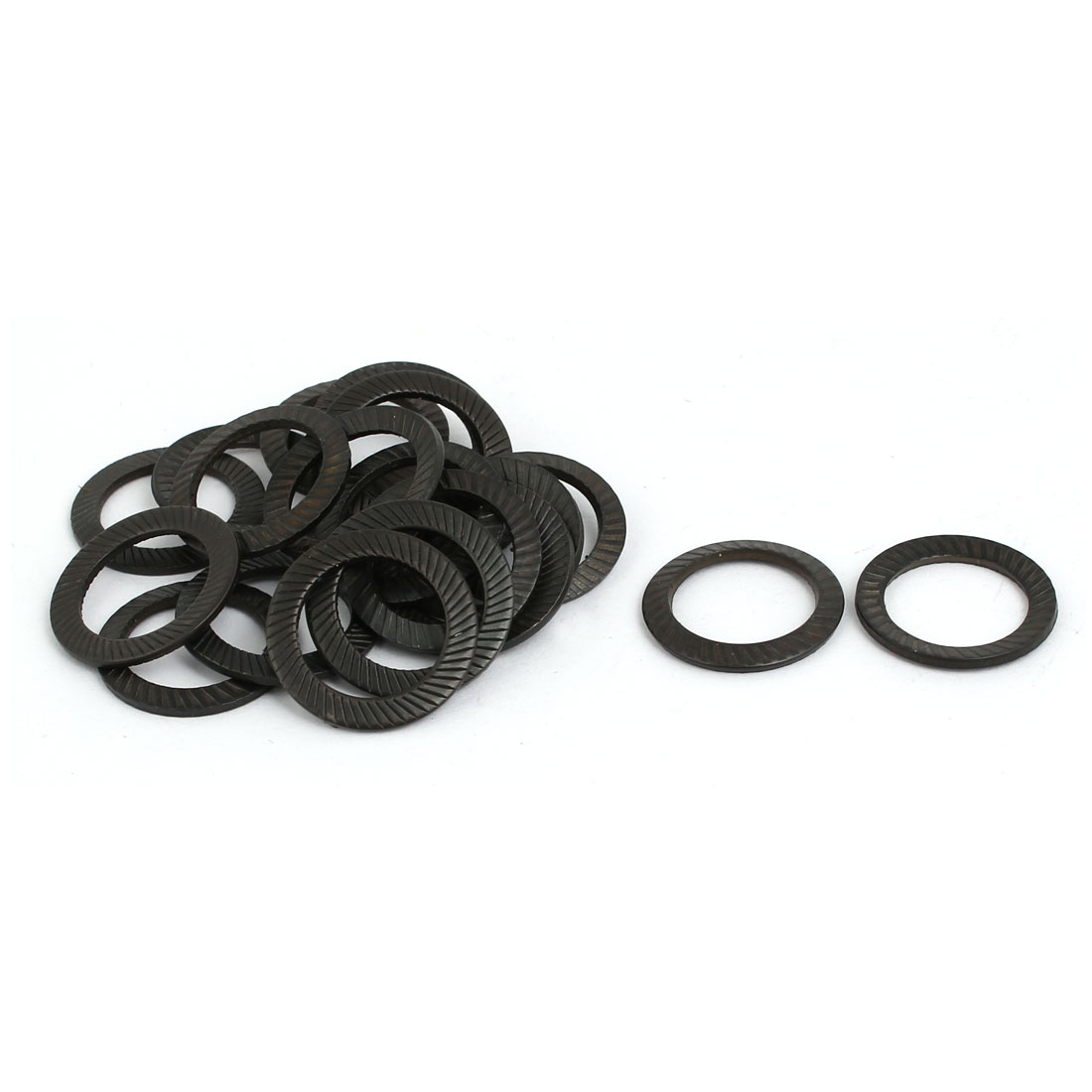 12mm Inner Diameter Carbon Steel Dual Serrated Conical Washer Black 20pcs