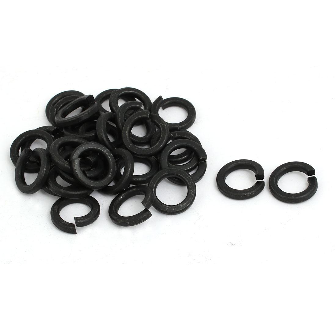 30pcs 12mm Inner Dia Grade 8 Carbon Steel Split Lock Spring Washer Gasket Black