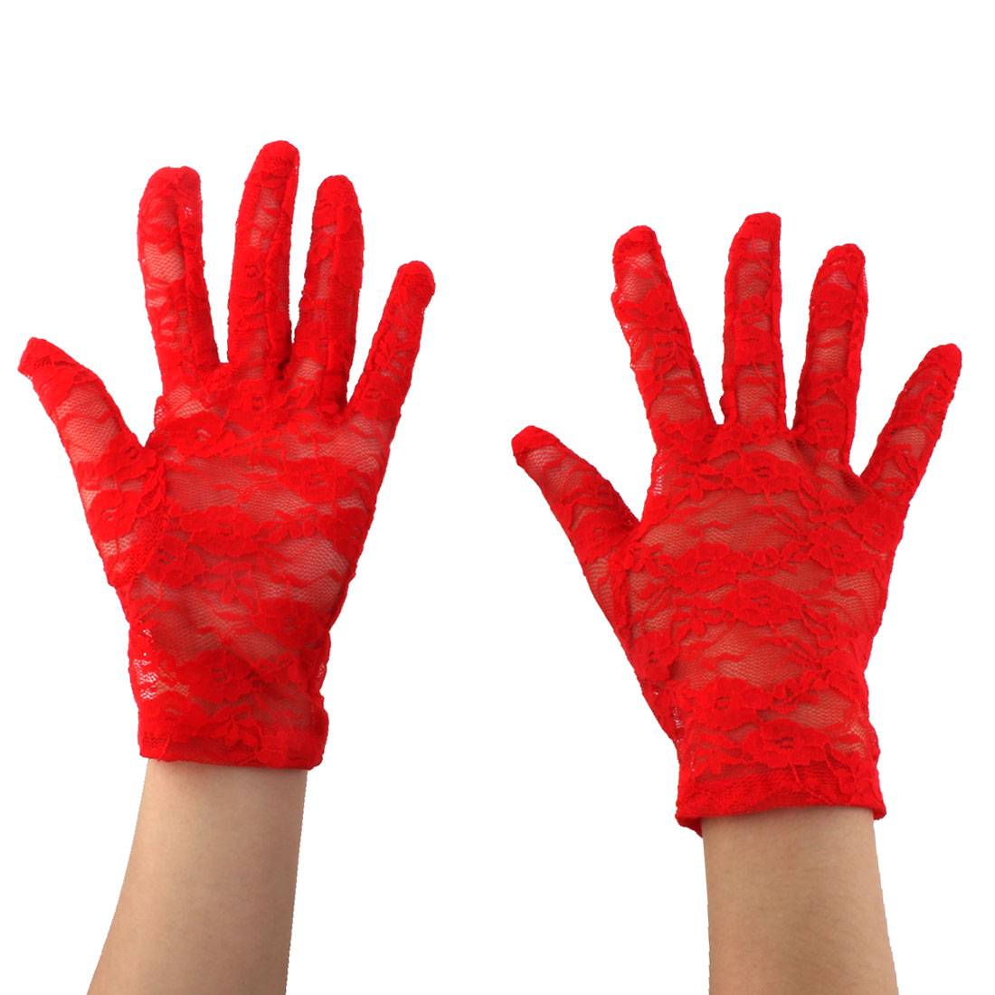 Ladies Driving Cycling Lace Full Finger Mittens Sun Resistant Gloves Red Pair