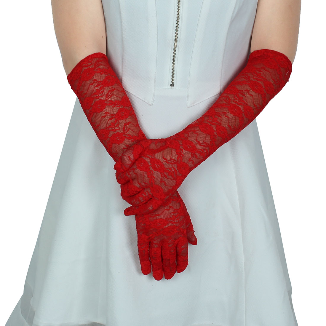 Adult Women Lace Full Finger Mittens Outdoor Sun Resistant Long Gloves Red Pair