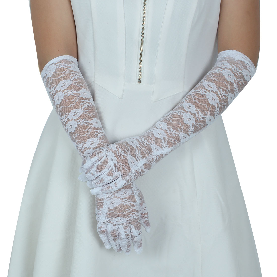 Adult Lady Lace Full Finger Mittens Outdoor Sun Resistant Long Gloves White Pair